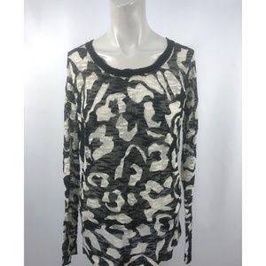 NWT Kensie Knit Top chiffon back long sleeve $85